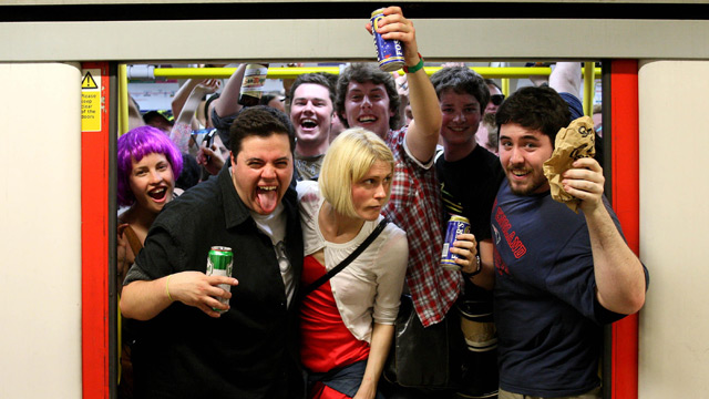 Revellers say farewell to drinking on the Tube